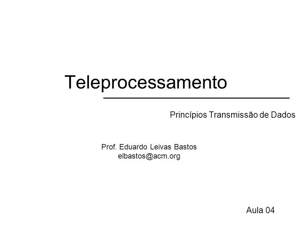 Teleprocessamento Digital e Analógico Dado –Entidade que possui significado Sinal –Representação eletromagnética do dado Transmissão –Comunicação do dado pela propagação e processamento de sinais