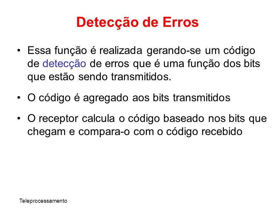 Teleprocessamento Detecção de Erros Essa função é realizada gerando-se um código de detecção de erros que é uma função dos bits que estão sendo transm