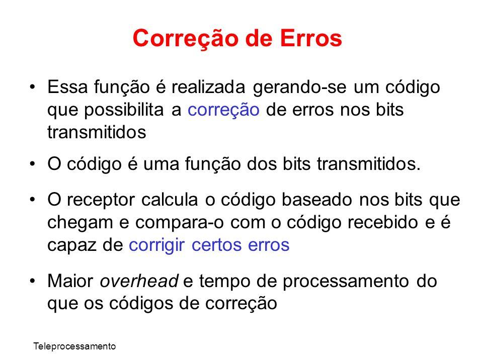 Teleprocessamento Correção de Erros Essa função é realizada gerando-se um código que possibilita a correção de erros nos bits transmitidos O código é
