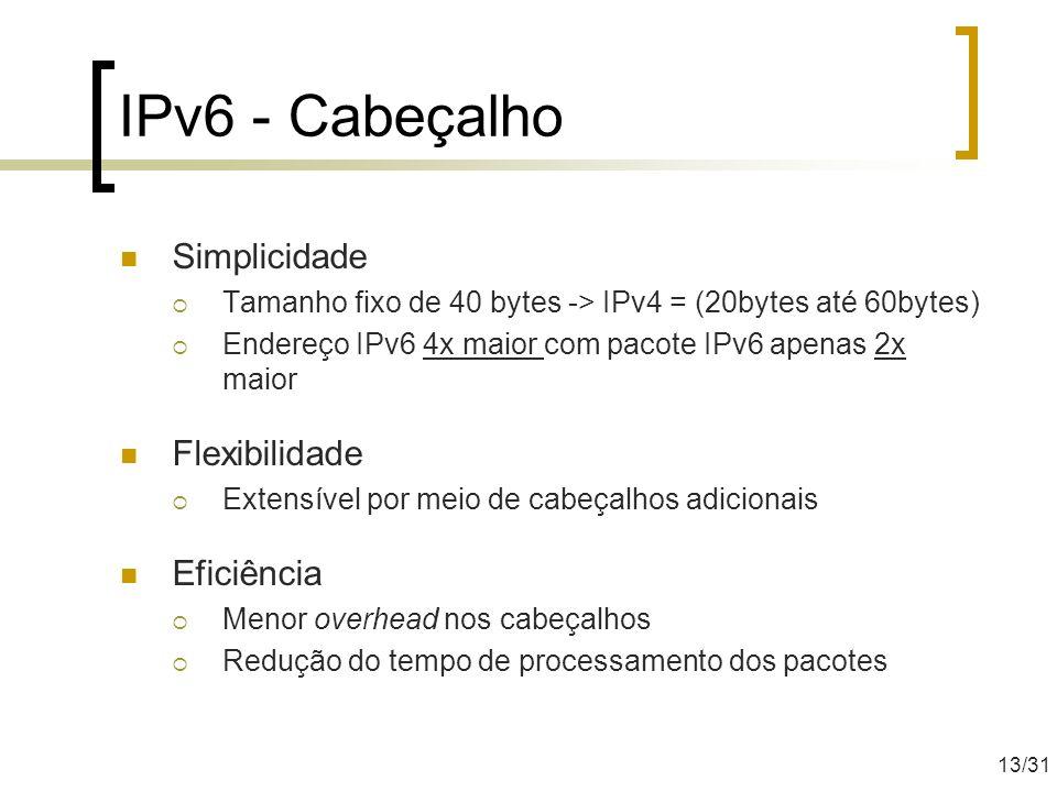 IPv6 - Cabeçalho Simplicidade Tamanho fixo de 40 bytes -> IPv4 = (20bytes até 60bytes) Endereço IPv6 4x maior com pacote IPv6 apenas 2x maior Flexibil