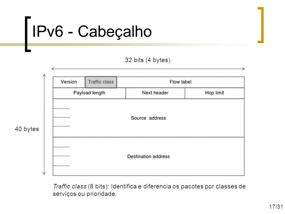 IPv6 - Cabeçalho 40 bytes 32 bits (4 bytes) Traffic class (8 bits): Identifica e diferencia os pacotes por classes de serviços ou prioridade. 17/31