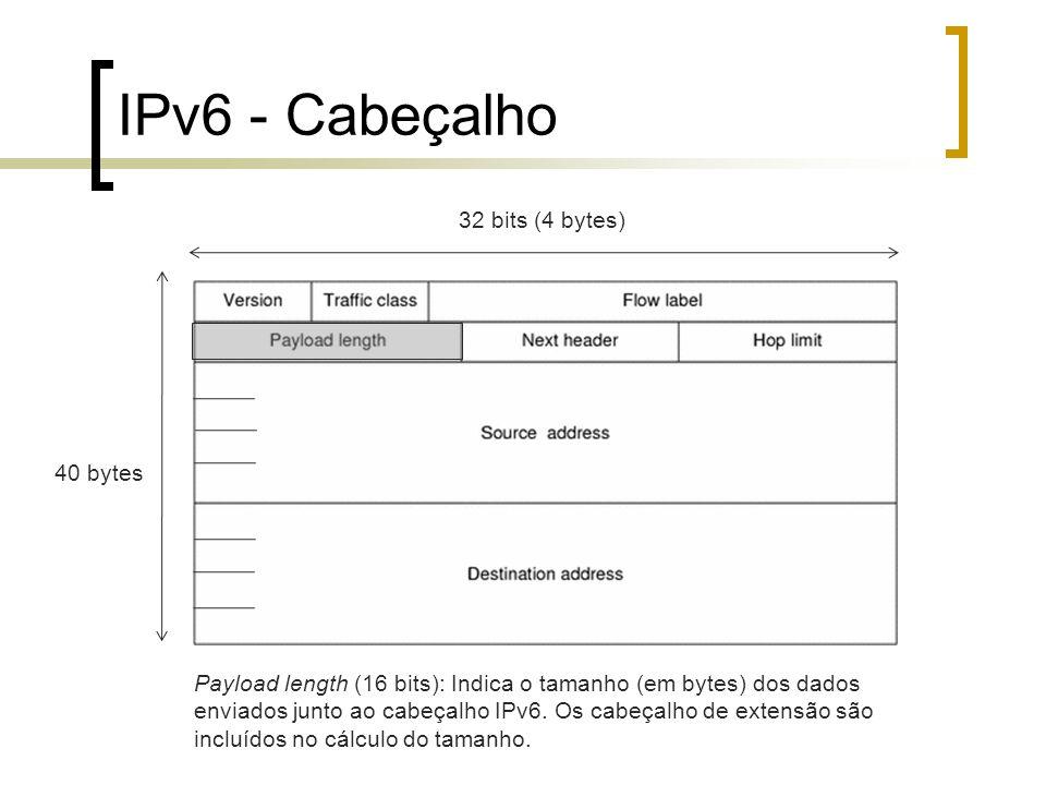 IPv6 - Cabeçalho 40 bytes 32 bits (4 bytes) Payload length (16 bits): Indica o tamanho (em bytes) dos dados enviados junto ao cabeçalho IPv6. Os cabeç