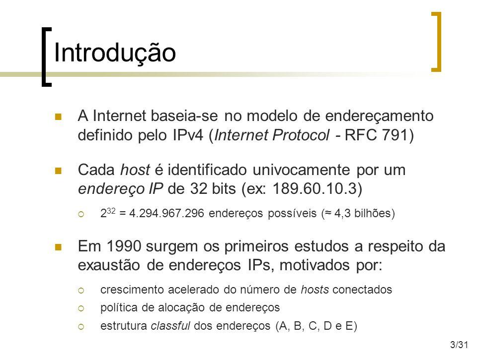 Introdução A Internet baseia-se no modelo de endereçamento definido pelo IPv4 (Internet Protocol - RFC 791) Cada host é identificado univocamente por