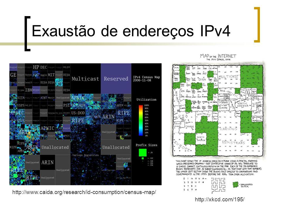 Exaustão de endereços IPv4 http://xkcd.com/195/ http://www.caida.org/research/id-consumption/census-map/