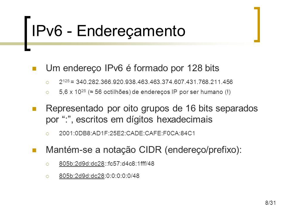 IPv6 - Endereçamento É permitido: Utilizar caracteres minúsculos e maiúsculos Omitir zeros à esquerda Representar zeros contínuos por :: 2001:0DB8:0000:0000:130F:0000:0000:140B 2001:DB8:0:0:130F::140B 2001:DB8::130F:0:0:140B O uso de :: é permitido apenas uma única vez.