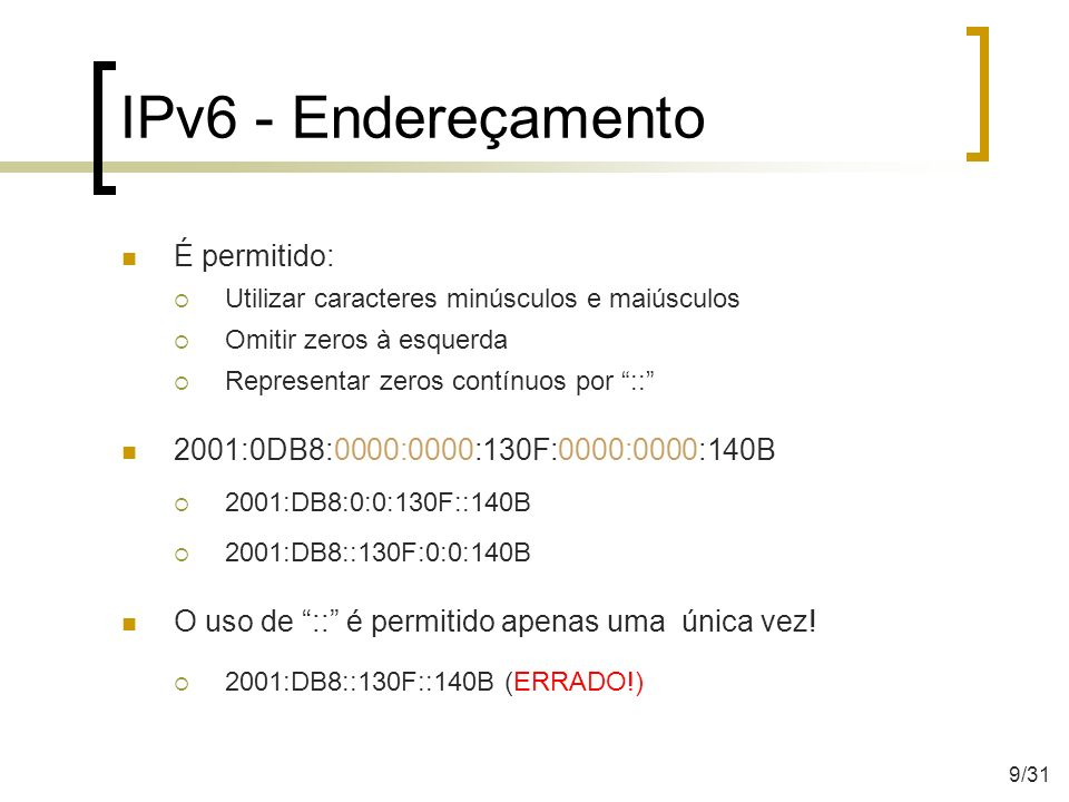 IPv6 - Endereçamento É permitido: Utilizar caracteres minúsculos e maiúsculos Omitir zeros à esquerda Representar zeros contínuos por :: 2001:0DB8:000