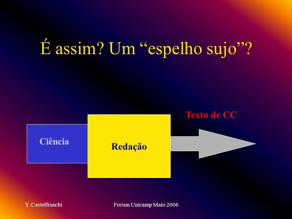 Y. CastelfranchiForum Unicamp Maio 2006 É assim? Um espelho sujo? Texto de CC Redação Ciência