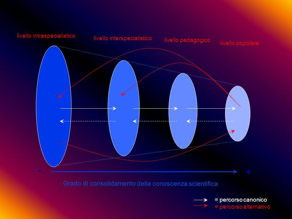 Grado di consolidamento della conoscenza scientifica - + livello intraspecialistico livello pedagogico livello popolare livello interspecialistico = percorso canonico = percorso alternativo