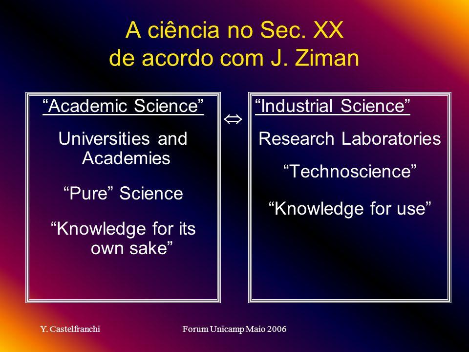 Y.CastelfranchiForum Unicamp Maio 2006 A ciência no Sec.