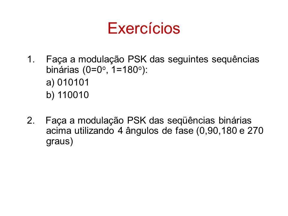 Exercícios 1.Faça a modulação PSK das seguintes sequências binárias (0=0 o, 1=180 o ): a) 010101 b) 110010 2. Faça a modulação PSK das seqüências biná