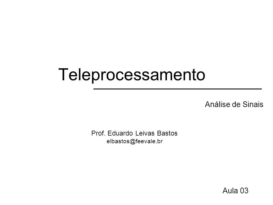 Teleprocessamento Sinais Eletromagnéticos (DT) Periódicos –Padrão se repete no tempo –Ex: onde senóide Aperiódicos –Padrão que não se repete no tempo –Ex: conversação telefônica