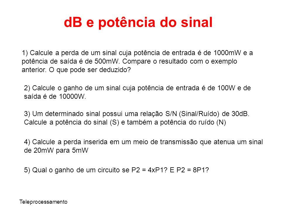 Teleprocessamento dB e potência do sinal 1) Calcule a perda de um sinal cuja potência de entrada é de 1000mW e a potência de saída é de 500mW. Compare