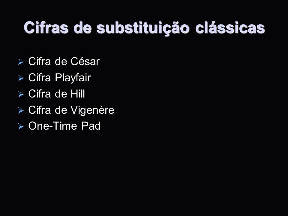 Cifras de substituição clássicas Cifra de César Cifra de César Cifra Playfair Cifra Playfair Cifra de Hill Cifra de Hill Cifra de Vigenère Cifra de Vi