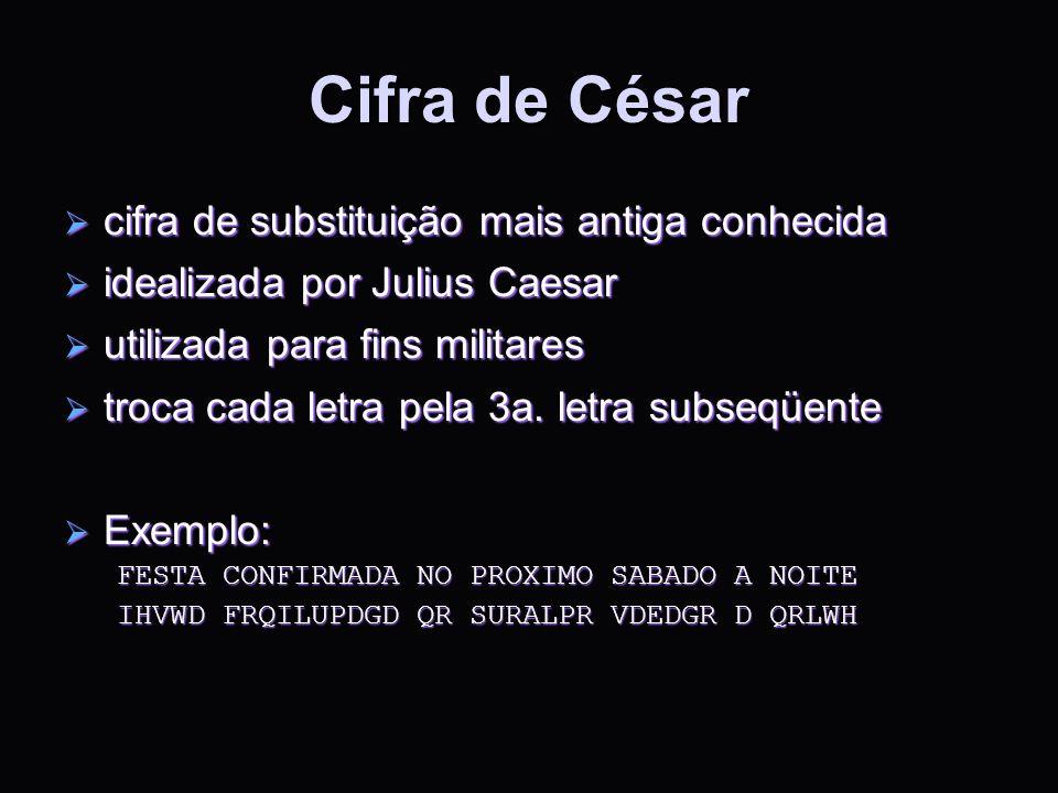 Cifra de César cifra de substituição mais antiga conhecida cifra de substituição mais antiga conhecida idealizada por Julius Caesar idealizada por Jul