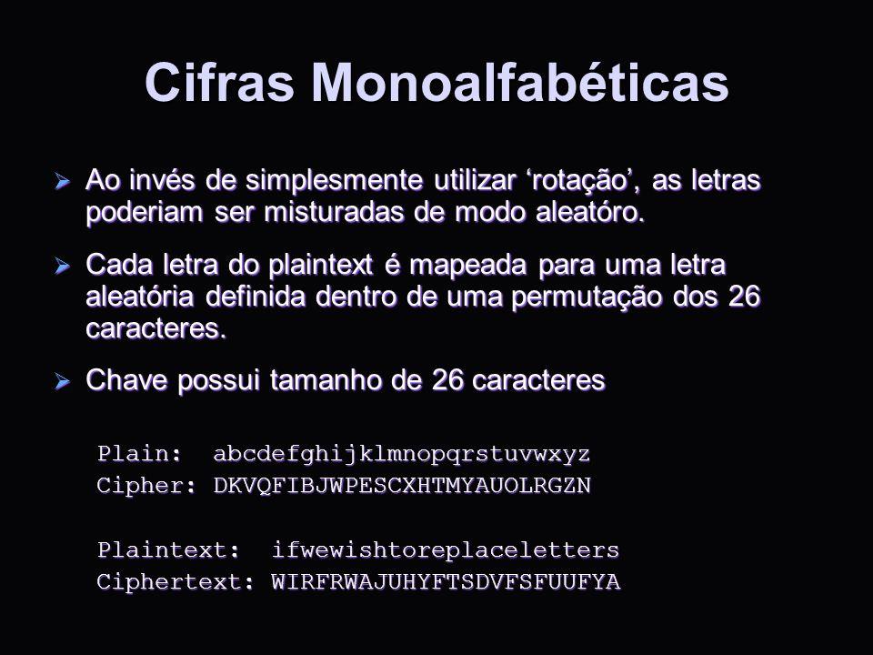 Cifras Monoalfabéticas Ao invés de simplesmente utilizar rotação, as letras poderiam ser misturadas de modo aleatóro. Ao invés de simplesmente utiliza