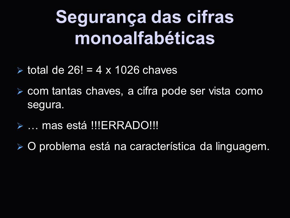 Segurança das cifras monoalfabéticas total de 26! = 4 x 1026 chaves total de 26! = 4 x 1026 chaves com tantas chaves, a cifra pode ser vista como segu