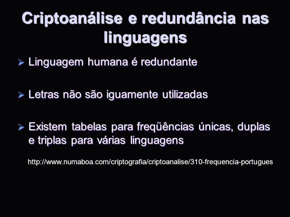 Criptoanálise e redundância nas linguagens Linguagem humana é redundante Linguagem humana é redundante Letras não são iguamente utilizadas Letras não