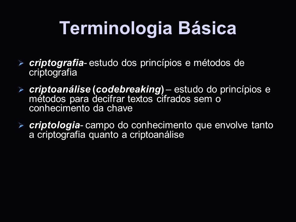 Terminologia Básica criptografia- estudo dos princípios e métodos de criptografia criptografia- estudo dos princípios e métodos de criptografia cripto