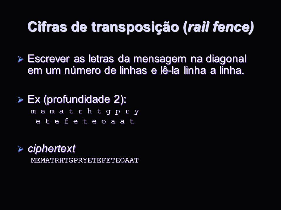 Cifras de transposição (rail fence) Escrever as letras da mensagem na diagonal em um número de linhas e lê-la linha a linha. Escrever as letras da men