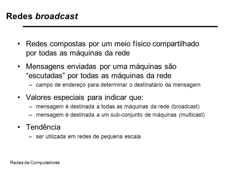 Redes de Computadores Redes broadcast Redes compostas por um meio físico compartilhado por todas as máquinas da rede Mensagens enviadas por uma máquin
