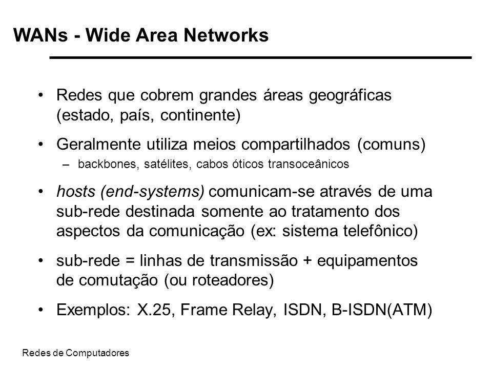 Redes de Computadores WANs - Wide Area Networks Redes que cobrem grandes áreas geográficas (estado, país, continente) Geralmente utiliza meios compart