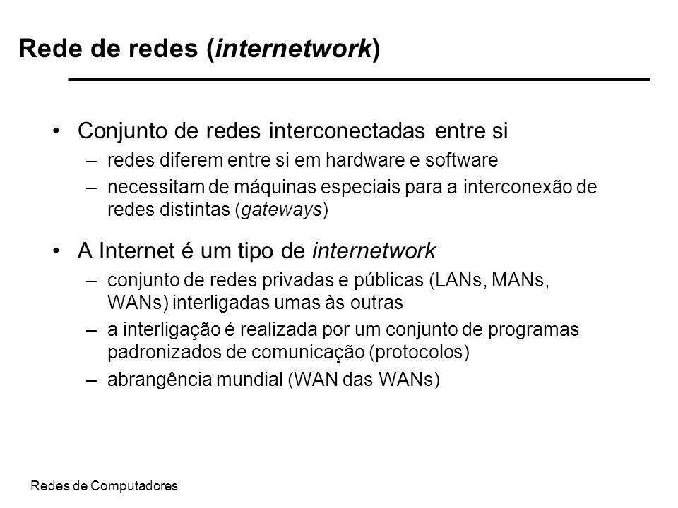 Redes de Computadores Rede de redes (internetwork) Conjunto de redes interconectadas entre si –redes diferem entre si em hardware e software –necessit