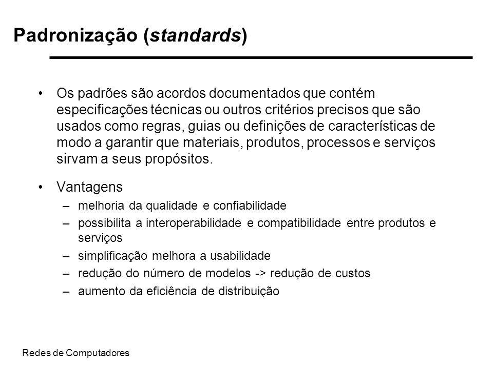 Redes de Computadores Padronização (standards) Os padrões são acordos documentados que contém especificações técnicas ou outros critérios precisos que