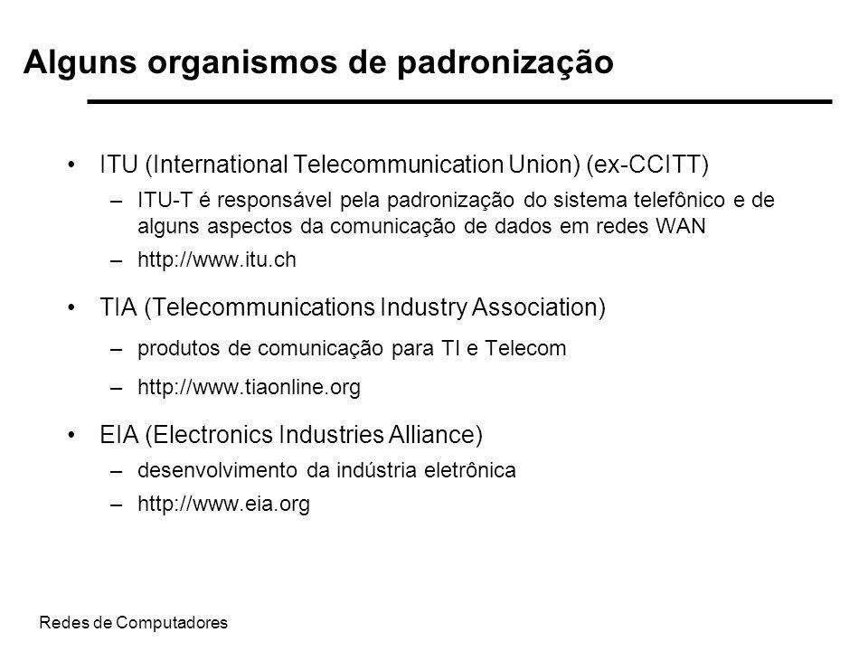 Redes de Computadores ITU (International Telecommunication Union) (ex-CCITT) –ITU-T é responsável pela padronização do sistema telefônico e de alguns