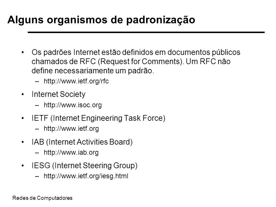 Redes de Computadores Os padrões Internet estão definidos em documentos públicos chamados de RFC (Request for Comments). Um RFC não define necessariam