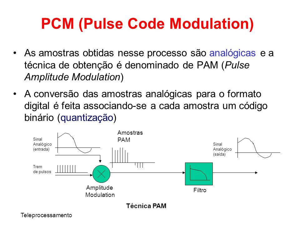 Teleprocessamento PCM (Pulse Code Modulation) As amostras obtidas nesse processo são analógicas e a técnica de obtenção é denominado de PAM (Pulse Amp