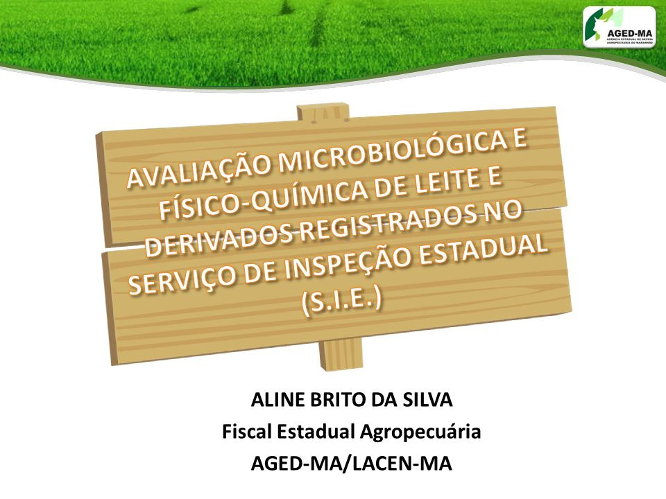 ALINE BRITO DA SILVA Fiscal Estadual Agropecuária AGED-MA/LACEN-MA