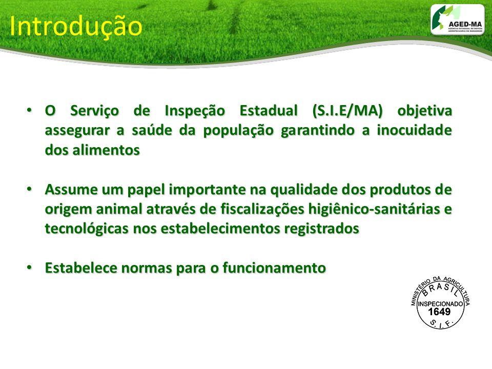 Introdução O Serviço de Inspeção Estadual (S.I.E/MA) objetiva assegurar a saúde da população garantindo a inocuidade dos alimentos O Serviço de Inspeç