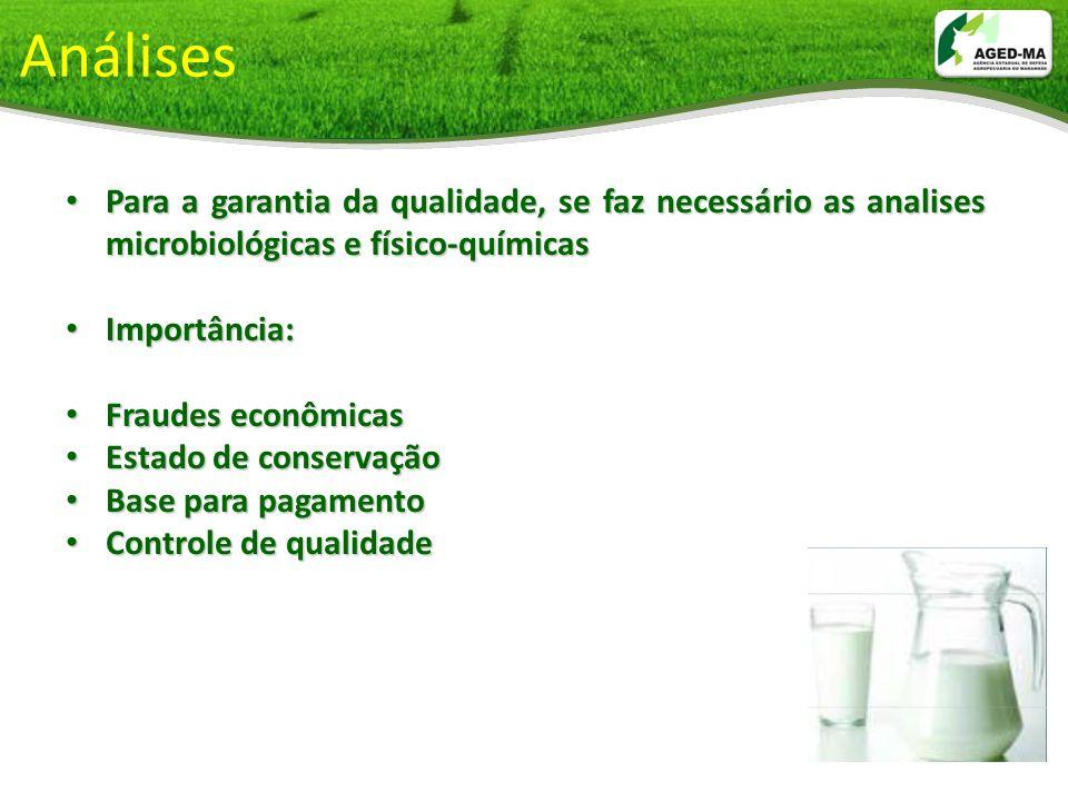 Análises Para a garantia da qualidade, se faz necessário as analises microbiológicas e físico-químicas Para a garantia da qualidade, se faz necessário