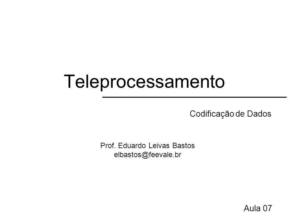 Teleprocessamento Técnicas de codificação Dados digitais codificados em sinais digitais –Ex: associar a voltagem +5V para o dígito 1 e –5V para o dígito 0.