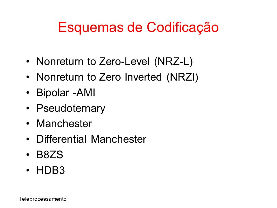 Teleprocessamento Nonreturn to Zero-Level (NRZ-L) Nonreturn to Zero Inverted (NRZI) Bipolar -AMI Pseudoternary Manchester Differential Manchester B8ZS