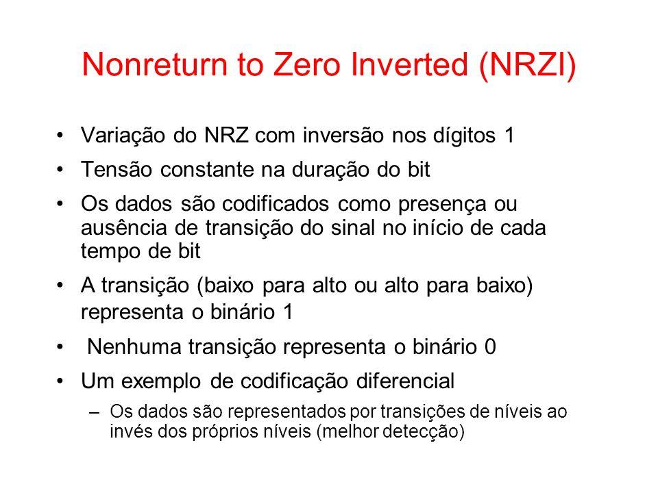 Nonreturn to Zero Inverted (NRZI) Variação do NRZ com inversão nos dígitos 1 Tensão constante na duração do bit Os dados são codificados como presença