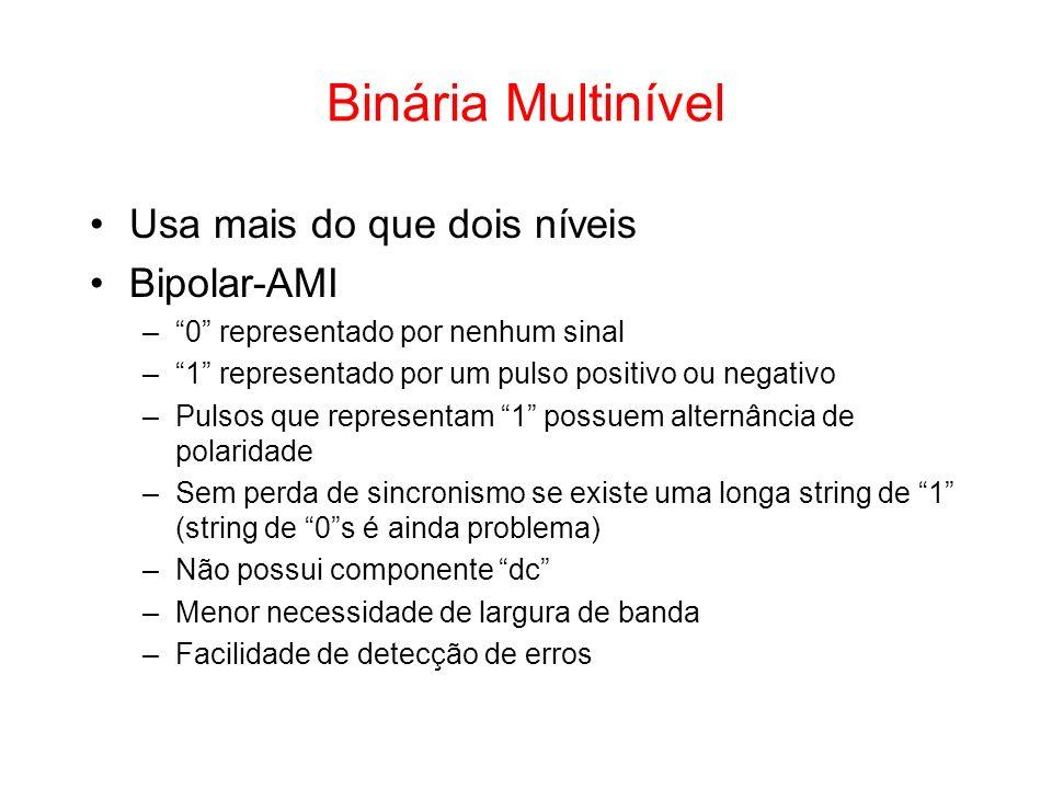 Usa mais do que dois níveis Bipolar-AMI –0 representado por nenhum sinal –1 representado por um pulso positivo ou negativo –Pulsos que representam 1 p