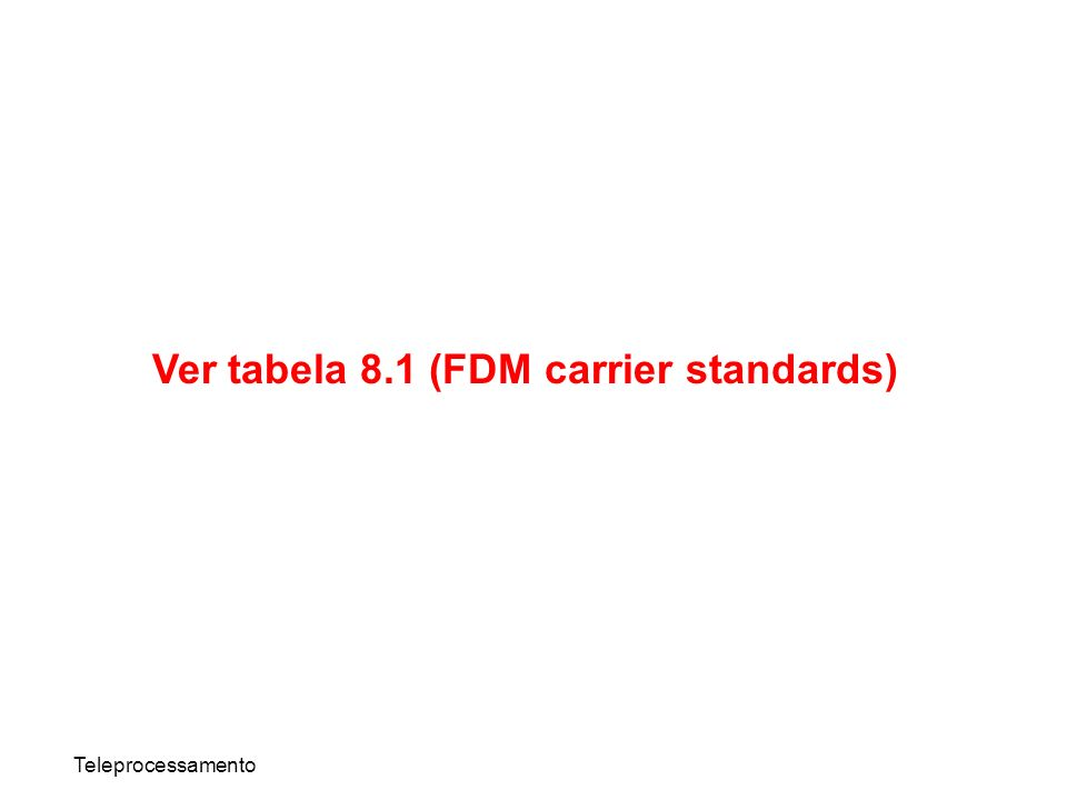 Teleprocessamento Ver tabela 8.1 (FDM carrier standards)