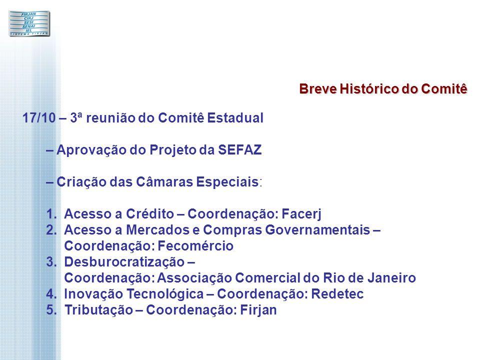 17/10 – 3ª reunião do Comitê Estadual – Aprovação do Projeto da SEFAZ – Criação das Câmaras Especiais: 1.Acesso a Crédito – Coordenação: Facerj 2.Acesso a Mercados e Compras Governamentais – Coordenação: Fecomércio 3.Desburocratização – Coordenação: Associação Comercial do Rio de Janeiro 4.Inovação Tecnológica – Coordenação: Redetec 5.Tributação – Coordenação: Firjan Breve Histórico do Comitê