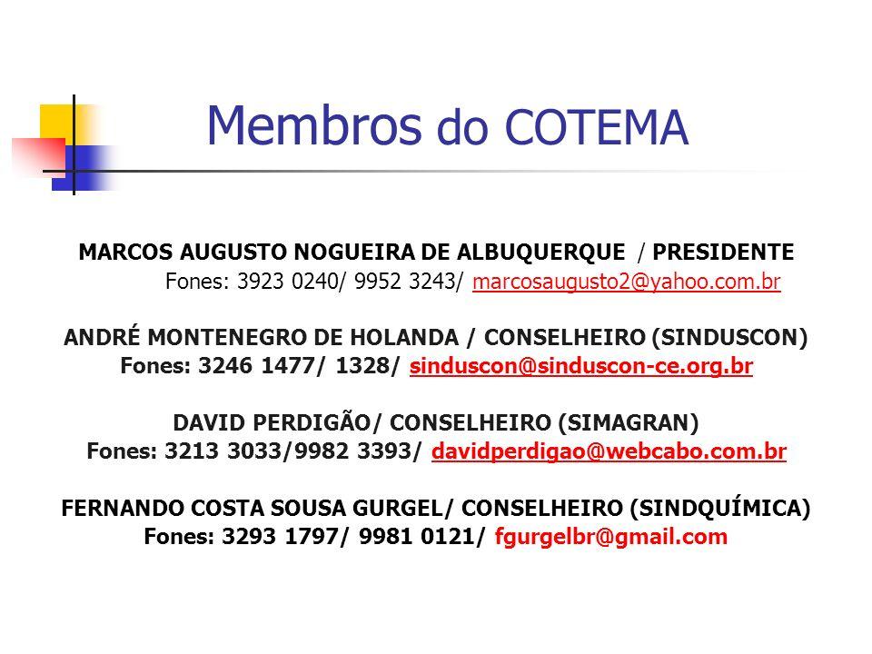 Membros COTEMA GERALDO BASTOS OSTERNO JR./ CONSELHEIRO (SINDMÓVEIS) Fones: 3244 5076/ 9991 1300/ junior@most.ind.brjunior@most.ind.br JOÃO OTAVIO MONTEIRO GONDIM / CONSELHEIRO (SINDVERDE) Fones: 4009 5859 / 9199 9361/ otaviomgondim@hotmail.com JOAQUIM RONALDO PONTES / CONSELHEIRO (SINDBRITA) Fones: 3342 5878/ 9988 3886/ ronaldopyla@hotmail.comronaldopyla@hotmail.com JOSÉ AFONSO CASTRO ANDRADE/ CONSELHEIRO (SINDTÊXTIL) Fones: 4009 4044/ afonso@santana.ind.br
