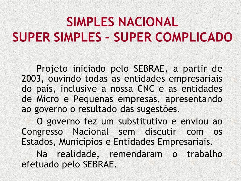 SIMPLES NACIONAL SUPER SIMPLES – SUPER COMPLICADO Projeto iniciado pelo SEBRAE, a partir de 2003, ouvindo todas as entidades empresariais do país, inc