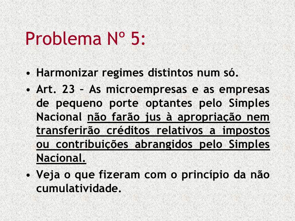Problema Nº 5: Harmonizar regimes distintos num só. Art. 23 – As microempresas e as empresas de pequeno porte optantes pelo Simples Nacional não farão
