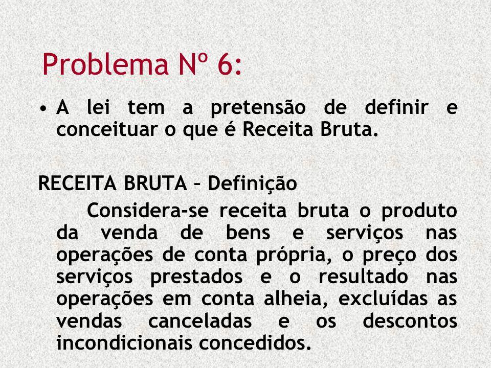 Problema Nº 6: A lei tem a pretensão de definir e conceituar o que é Receita Bruta. RECEITA BRUTA – Definição Considera-se receita bruta o produto da