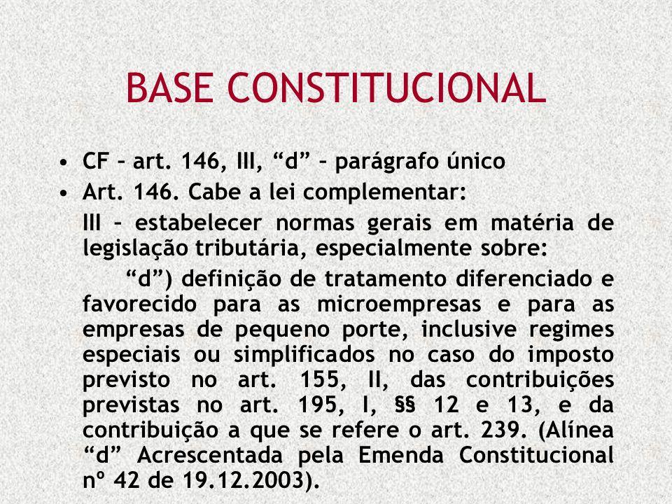 BASE CONSTITUCIONAL CF – art. 146, III, d – parágrafo único Art. 146. Cabe a lei complementar: III – estabelecer normas gerais em matéria de legislaçã