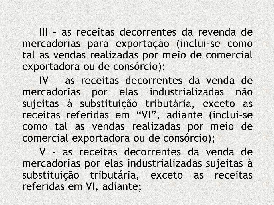 III – as receitas decorrentes da revenda de mercadorias para exportação (inclui-se como tal as vendas realizadas por meio de comercial exportadora ou
