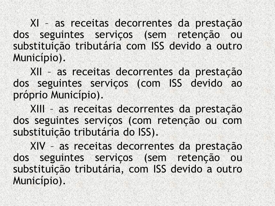 XI – as receitas decorrentes da prestação dos seguintes serviços (sem retenção ou substituição tributária com ISS devido a outro Município). XII – as