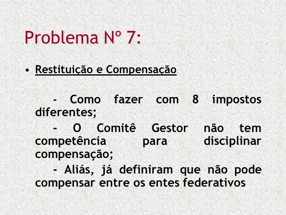 Problema Nº 7: Restituição e Compensação - Como fazer com 8 impostos diferentes; - O Comitê Gestor não tem competência para disciplinar compensação; -