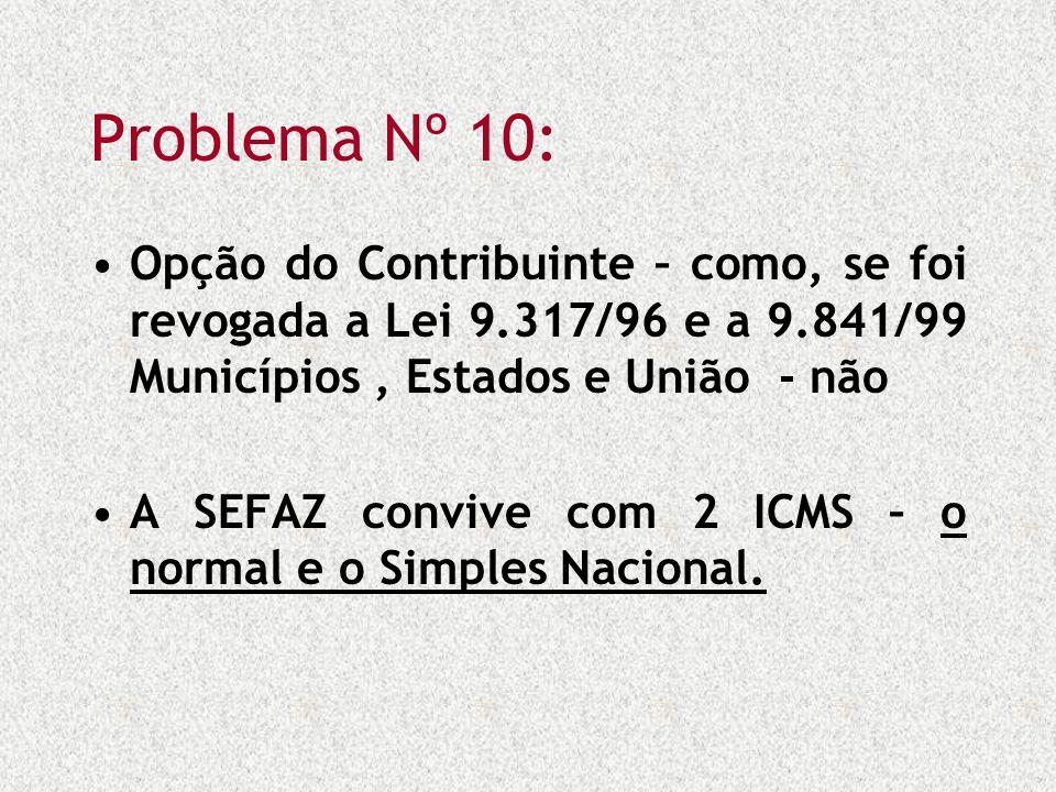 Problema Nº 10: Opção do Contribuinte – como, se foi revogada a Lei 9.317/96 e a 9.841/99 Municípios, Estados e União - não A SEFAZ convive com 2 ICMS