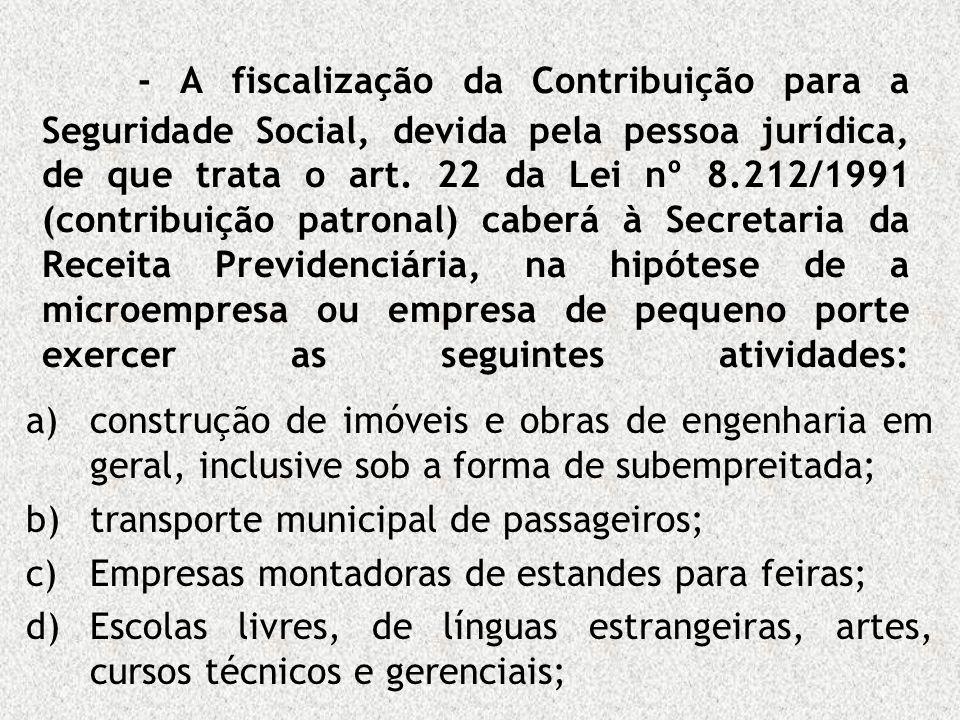 - A fiscalização da Contribuição para a Seguridade Social, devida pela pessoa jurídica, de que trata o art. 22 da Lei nº 8.212/1991 (contribuição patr