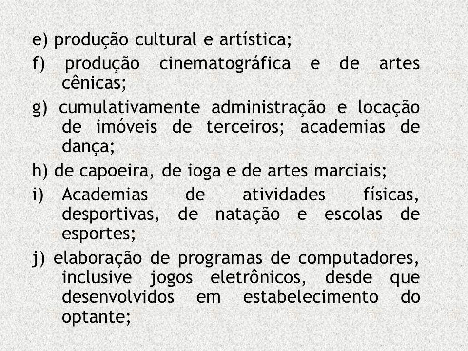 e) produção cultural e artística; f) produção cinematográfica e de artes cênicas; g) cumulativamente administração e locação de imóveis de terceiros;